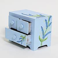"""Голубой мини-комод с индивидуальной росписью """"Лаванда"""""""