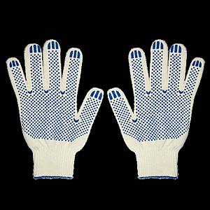 Перчатки хозяйственные рабочие с ПВХ точкой, 700 г.