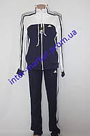 Спортивный женский костюм три полосы белый+синий, фото 1
