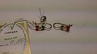 Золотые серьги на девочку  585 пробы с эмалью