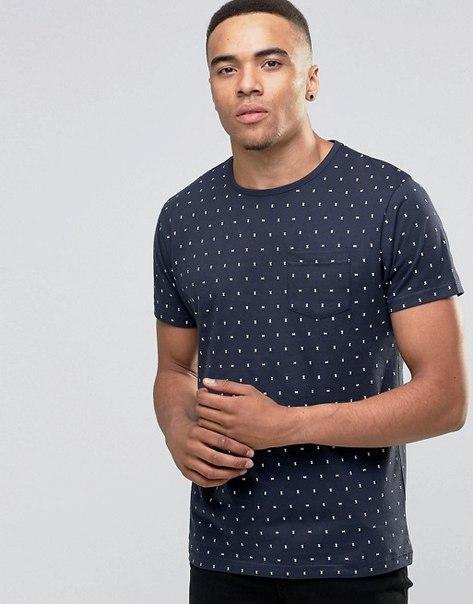 Мужская футболка D-Struct - Темно синяя с карманом принт часы (чоловіча футболка)