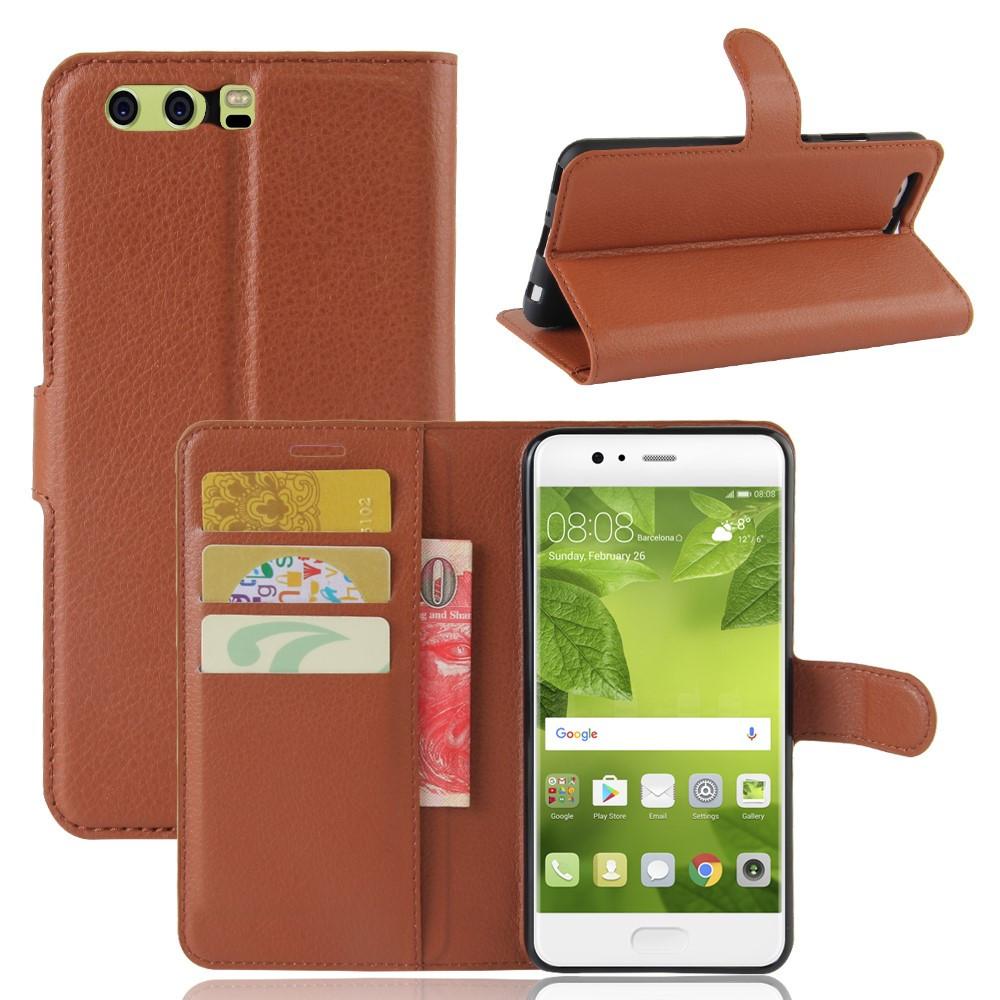Чехол книжка для Huawei P10 Plus боковой с отсеком для визиток, коричневый