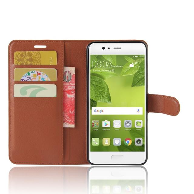 чехол книжка на Huawei P10 plus коричневый