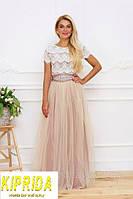 Длинное комбинированное платье в пол с кружевным лифом и вырезом на спине