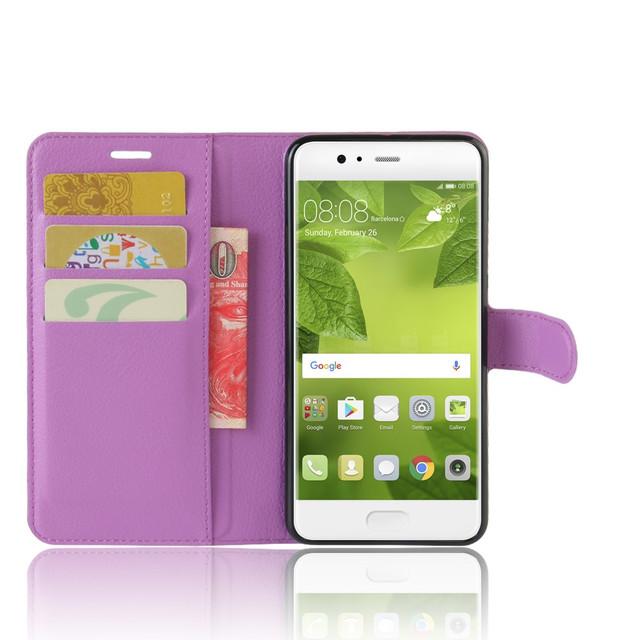 чехол книжка на Huawei P10 plus фиолетовый
