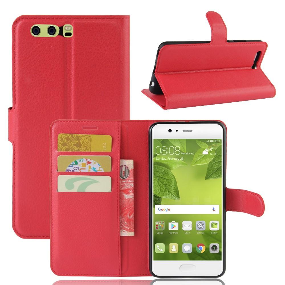 Чехол книжка для Huawei P10 Plus боковой с отсеком для визиток, красный