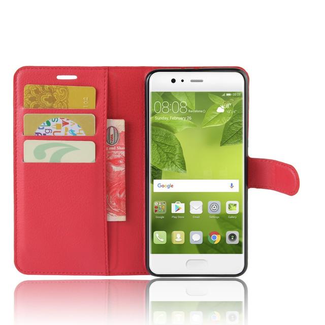 чехол книжка на Huawei P10 plus красный