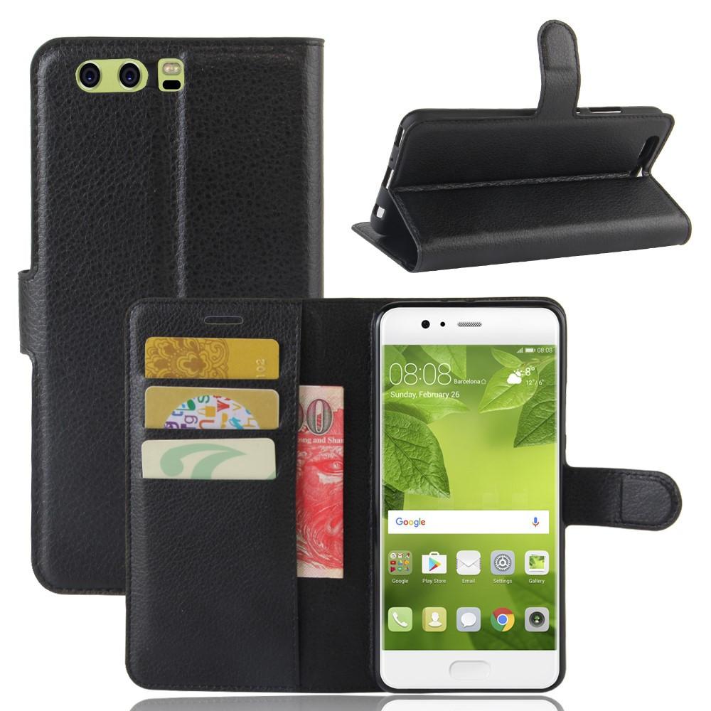 Чехол книжка для Huawei P10 Plus боковой с отсеком для визиток, черный