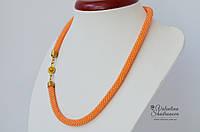 Вязаный жгут персиковый, фото 1