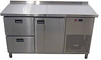 Холодильный стол с бортом из нержавейки (дверь + 2 ящика)