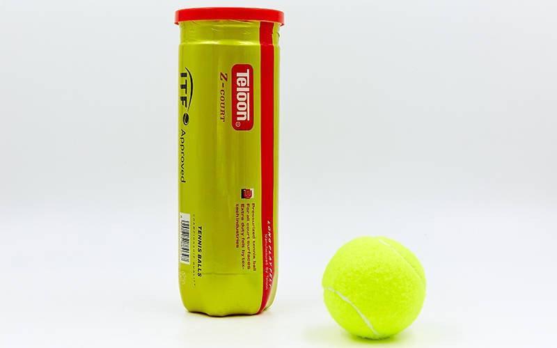 Мяч для большого тенниса TELOON Z-COURT(3шт). Распродажа! Оптом и в розницу!
