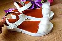 Босоножки женские с мехом цвет: белый материал: натуральная кожа+ кож подкладка
