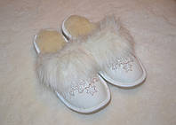 Тапочки женские шлепанцы  домашние кожаные на меху из овчины Ульяна размеров  36, 37, 38, 39, 40, 41