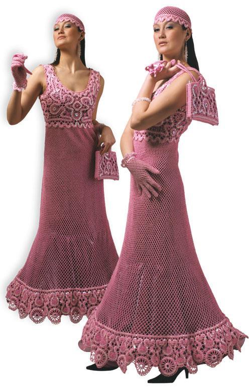 Платье вечернее розовое расшитое бисером  с перчатками, шапочкой и сумочкой