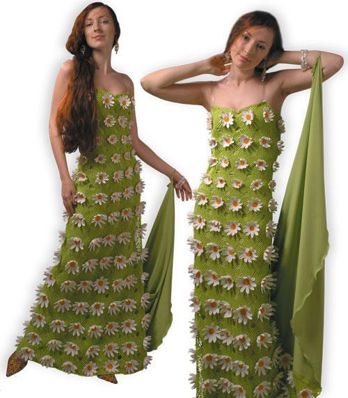 Платье вечернее зеленое платье с ромашками на подкладке со шлейфом