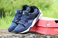 Мужские кроссовки Puma Trinomic, синие с черным / бег кроссовки мужские Пума Триномик, плотная сетка + замша