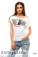 Женская футболка разлетайка Meaw белый