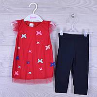 """Костюм детский """"Нежность"""" для девочки. 1-3 года. Красный+темно-синий . Оптом."""