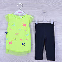 """Костюм детский """"Нежность"""" для девочки. 1-3 года.Лимонный+темно-синий. Оптом."""