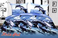"""Нежное семейное постельное бельё """"Дельфин""""."""
