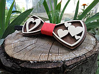 Деревянная бабочка галстук Ободок Сердца ручной работы, серия Fantasy