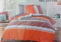 Сатиновое постельное белье евро ELWAY 5041 Оранжевая полоса