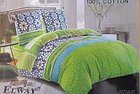 Сатиновое постельное белье евро ELWAY 5046 Хиппи