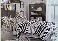 Сатиновое постельное белье евро ELWAY 5047 Полоска