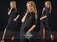 Платье-рубашка макси с разрезами черное