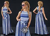 Платье в пол с шнуровкой на спинке белый, синий