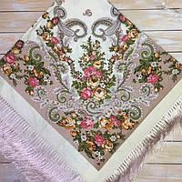 Красивый платок для девушек с цветами (135х135см, бежевый, 80%-шерсть), фото 1