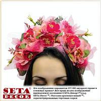 Веночек на голову, венок из цветов, обруч малиновые Розы. Handmade