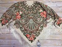 Красивый платок для девушек с цветами (110х110см, бежевый, 80%-шерсть), фото 1