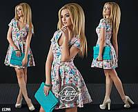 Платье с V-образным вырезом в цветочный принт пудра