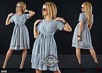 """Платье в полосочку с рукавом """"сафари"""" темно-синее"""