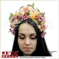 Веночек на голову, венок из цветов, обруч розовые Розы. Handmade
