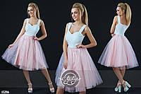 Коктейльное платье с пышной фатиновой юбкой розовое