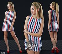 Платье мини прямого кроя в полосочку сине-бело-красное