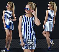 Платье мини прямого кроя в полосочку электрик, белое, синее
