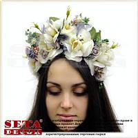 Веночек на голову, венок из цветов, обруч белые Розы. Handmade