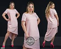 Платье с хвостом из шифона пудра