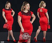 """Платье с рукавом """"крылышко"""" и вставками гипюра красный, черный"""