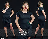 """Платье с рукавом """"крылышко"""" и вставками гипюра черный"""