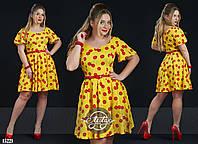 Платье на пояске с пышной юбочкой желтое