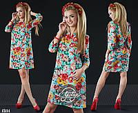 Платье в цветочный принт с рукавчиком 3/8 ментол