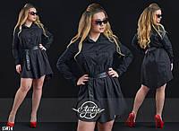 Платье-туника на кожаном поясе черное