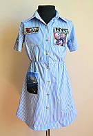 Модное детское платье-рубашка, для девочек, летнее