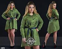 Платье-туника на кожаном поясе болотное