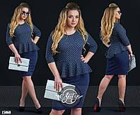 Стильное платье с ассиметричной баской темно-синее
