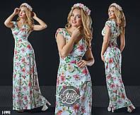 Нежное платье в пол с цветочным принтом белое
